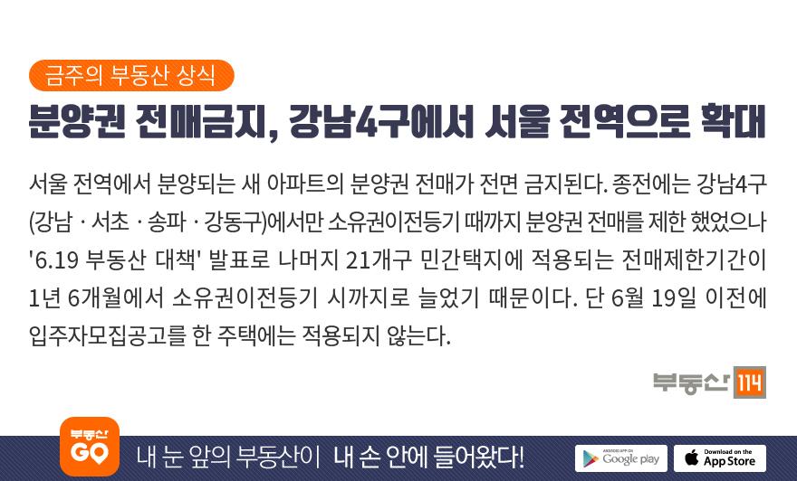 분양권 전매금지, 서울 전역으로 확대